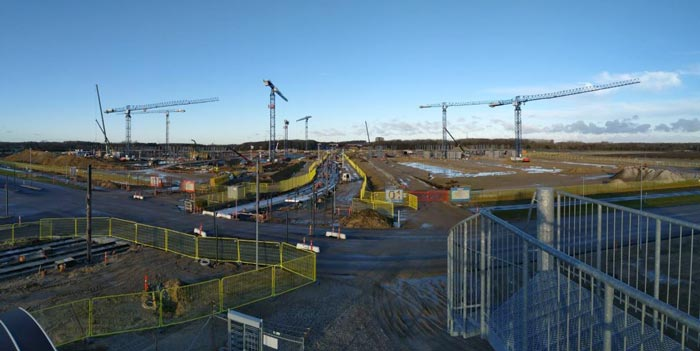 Panoramica del cantiere Odense University Hospital