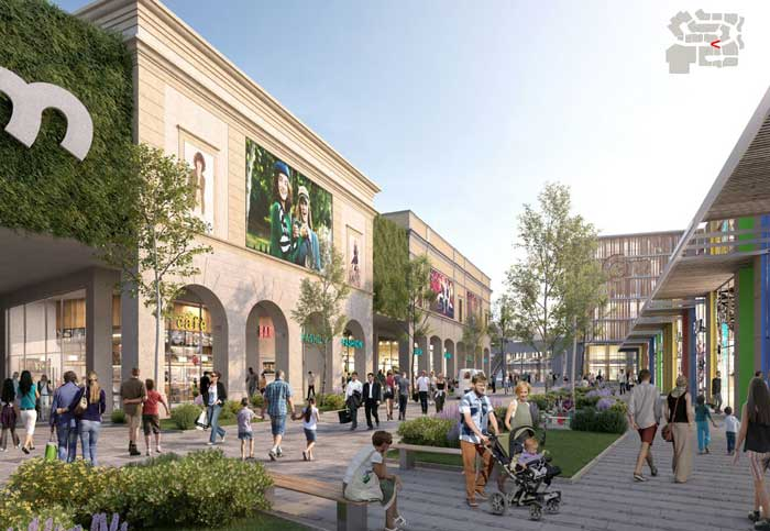 Il complesso Caselle Open Mall, rendering - R&P Engineering